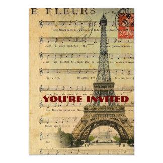 Vintage music notes Paris Eiffel Tower Card