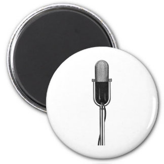 Vintage Music, Old Fashoined Retro Microphone 2 Inch Round Magnet