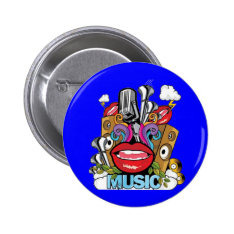 Vintage Music Pinback Button at Zazzle