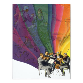 Vintage Music Rainbow, Man and Woman Dancers 4.25x5.5 Paper Invitation Card