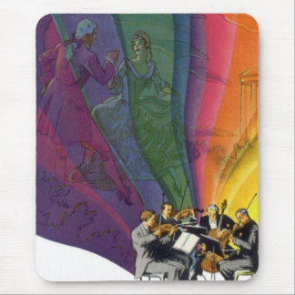 Vintage Music Rainbow, Man and Woman Dancers Mouse Pad