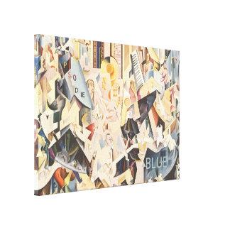 Vintage Music, Rhapsody in Blue Art Deco Jazz Canvas Print