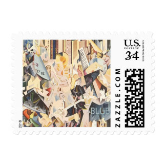 Vintage Music, Rhapsody in Blue Art Deco Jazz Postage Stamp