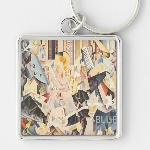 Vintage Music, Rhapsody in Blue Art Deco Jazz Silver-Colored Square Keychain