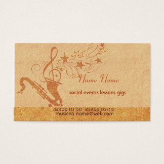 Vintage Music Saxophone Horn Musical Instruments Business Card