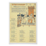 Vintage Music score French Le Roi Dagobert song Poster