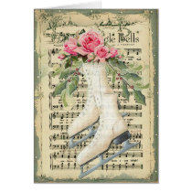 Vintage Music Sheet and Ice Skates Christmas Card