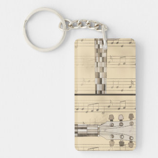Vintage Music Sheet and Pop Art Abstract Guitar Keychain