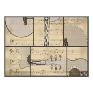 Vintage Music Sheet and Pop Art Abstract Guitar Poster