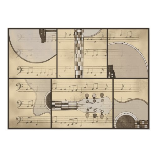 Vintage Music Sheet and Pop Art Abstract Guitar