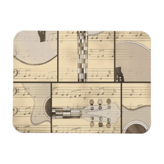 Vintage Music Sheet and Pop Art Abstract Guitar Rectangular Magnets