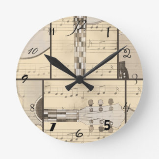 Vintage Music Sheet and Pop Art Abstract Guitar Round Clock