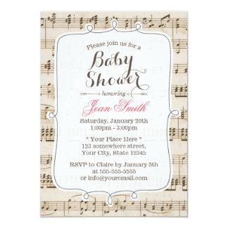 Vintage Music Sheet Baby Shower Invitations