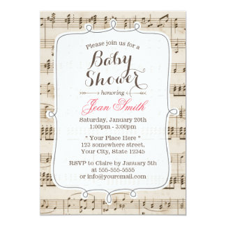 Vintage Music Sheet Baby Shower Invitations