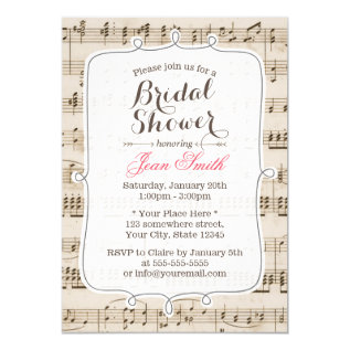 Vintage Music Sheet Bridal Shower Invitations at Zazzle