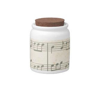 Vintage Music Sheet Candy Jar