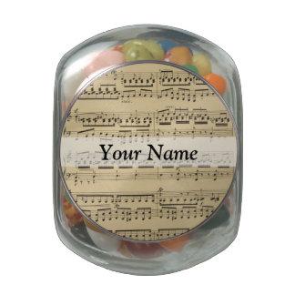 Vintage Music Sheet Glass Candy Jars