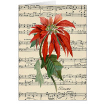 vintage music sheet christmas card poinsettia