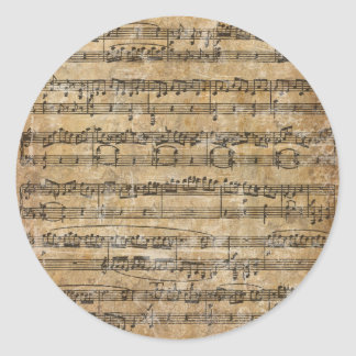 Vintage Music Sheet Classic Round Sticker