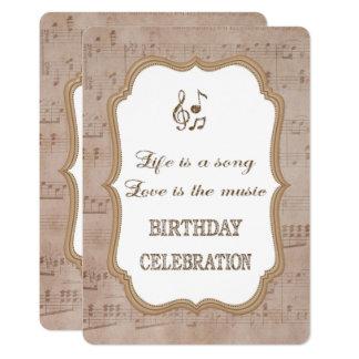 Vintage Music Sheet Gold Birthday Party Invitation