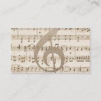 Vintage Music Sheet Guitarist Business Card