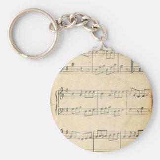 Vintage Music Sheet Key Chain