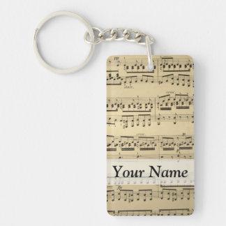 Vintage Music Sheet Rectangle Acrylic Keychains