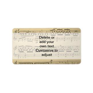 Vintage Music Sheet Label