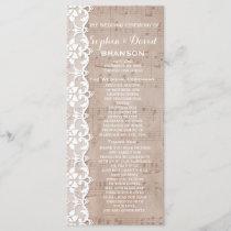 Vintage Music Sheet & Lace Wedding Program Custom