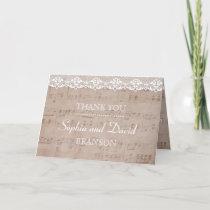 Vintage Music Sheet & Lace Wedding THANK YOU
