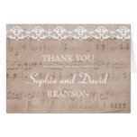 Vintage Music Sheet & Lace Wedding THANK YOU Card