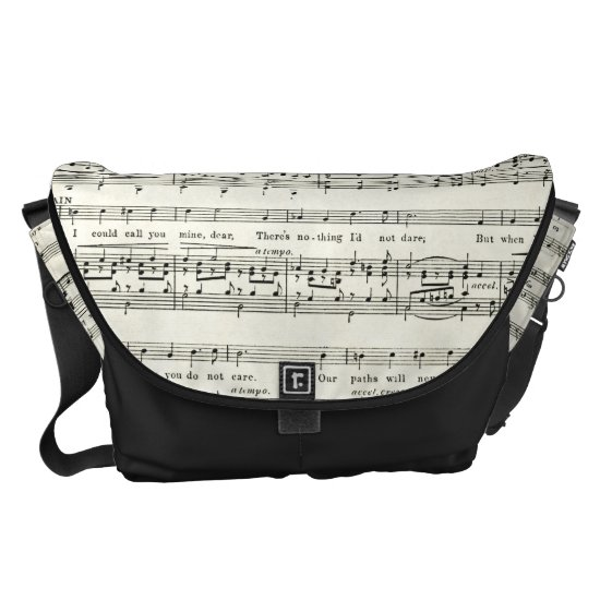 VINTAGE music sheet,musical Messenger Bag