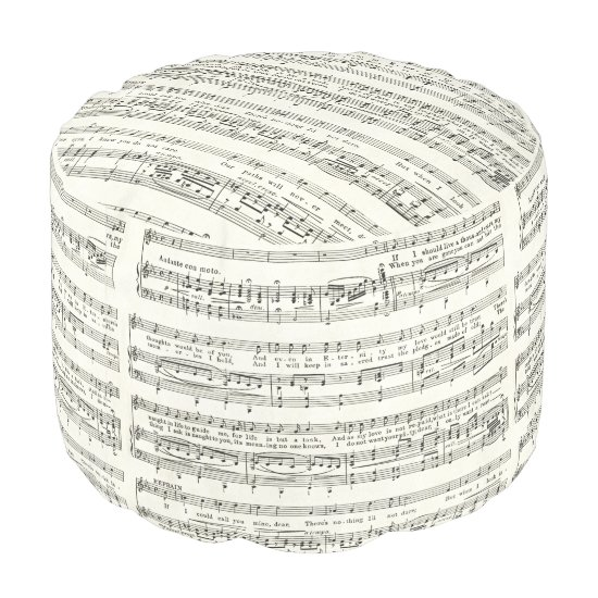 Vintage music sheet,musical notes pouf