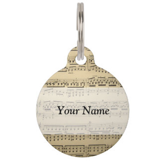 Vintage Music Sheet Pet ID Tag
