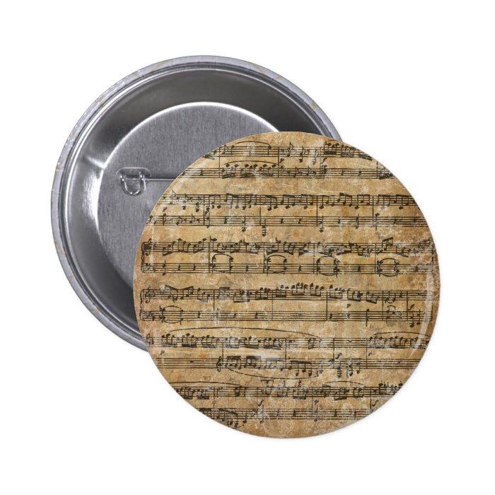 Vintage Music Sheet Pinback Button