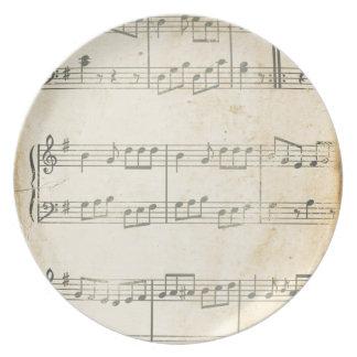 Vintage Music Sheet Dinner Plate