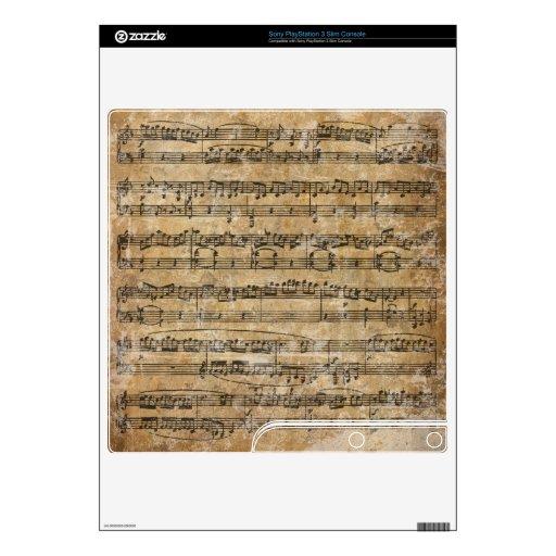 Vintage Music Sheet PS3 Slim Decals