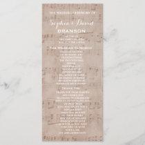 Vintage Music Sheet Wedding Program Custom