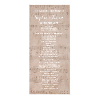Vintage Music Sheet Wedding Program Custom
