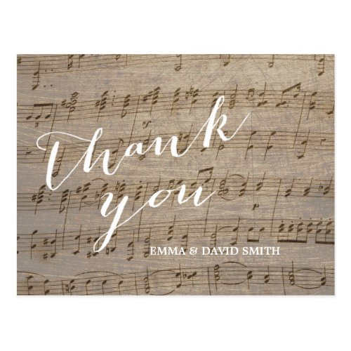 Vintage Music Sheet Wedding Thank You