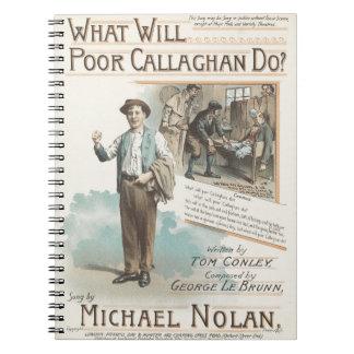 Vintage Music Song Sheet Poor Callaghan Chorus Notebook