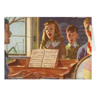 Vintage Music Teacher Teaching Students to Sing Greeting Card