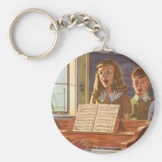 Vintage Music Teacher Teaching Students to Sing Keychain