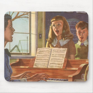 Vintage Music Teacher Teaching Students to Sing Mouse Pad