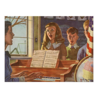 Vintage Music Teacher Teaching Students to Sing Poster