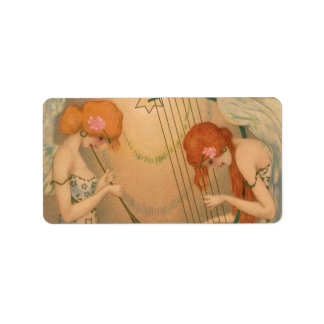 Vintage Music Victorian Angel Musicians Flute Harp Personalized Address Labels
