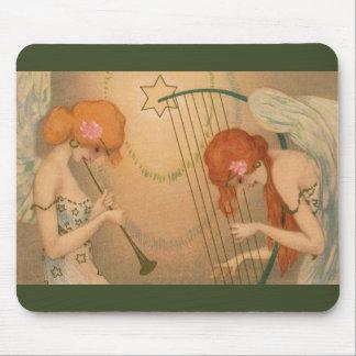 Vintage Music Victorian Angel Musicians Flute Harp Mouse Pad