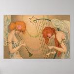 Vintage Music Victorian Angel Musicians Flute Harp Poster