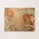 Vintage Music Victorian Angel Musicians Flute Harp Jigsaw Puzzle