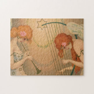 Vintage Music Victorian Angel Musicians Flute Harp Jigsaw Puzzle